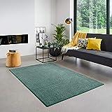 Carpet Studio Santa Fe Teppich Wohnzimmer 160x230cm, Teppich Grün für Schlafzimmer, Esszimmer & Wohnzimmer, Einfach zu Säubern, Weiche Oberfläche, Kurzflor - Smaragd/Grün