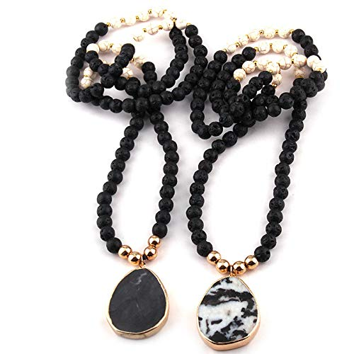 guodong Fashion Lava White Stone Pendant Long Necklace for Women Lariat Necklaces
