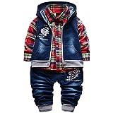 Yao Spring Autumn Baby Boys 3pcs Clothing Set Cotton Shirt Jeans Denim Vest (9-12months, Red)