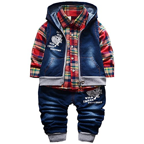 Yao Spring Autumn Baby Boys 3pcs Clothing Set Cotton Shirt Jeans Denim Vest (1-2Years, Red)