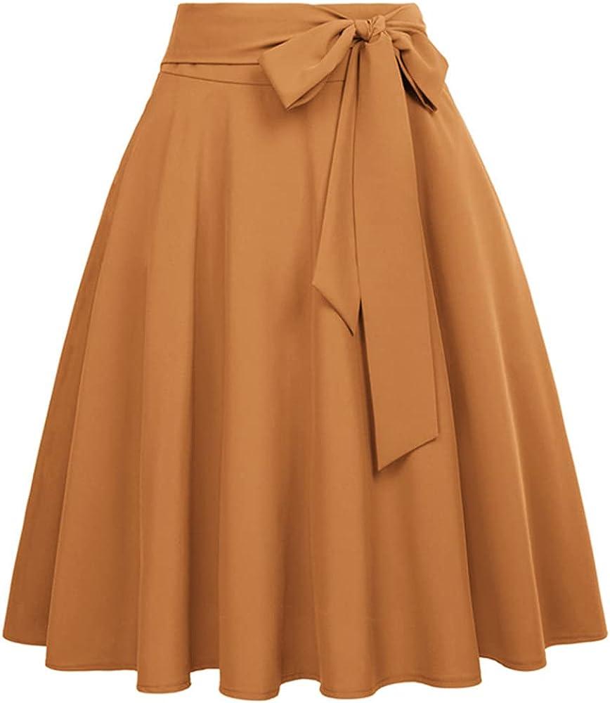 Belle Women Skirts Summer Color Waist Self-Tie Embellished A-Line Skirts Retro