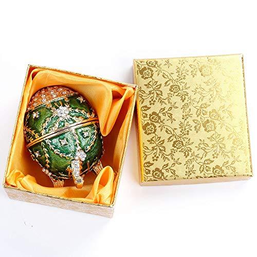 DAMAI STORE Ágata Verde Caja De Joyería De Huevo De Pascua con Piedras Strass Hogar Sala De Estar Decoraciones Creativas Esmalte Pintado Metal Artesanía Regalos