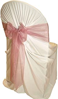 mds Pack of 100 Organza Chair Sashes Bow Sash for Wedding and Events Supplies Party Decoration Chair Cover sash -Dusty Pink