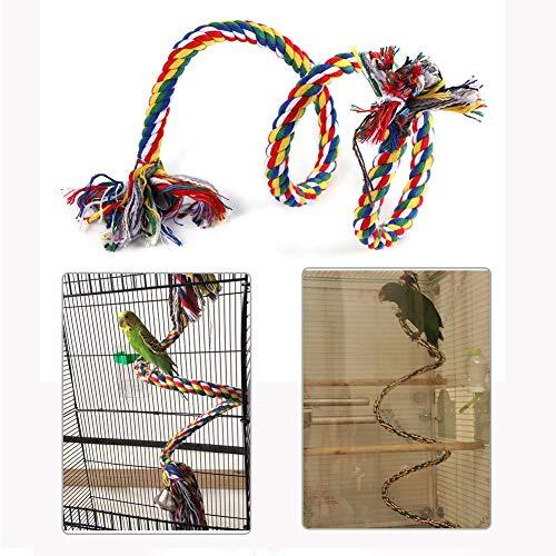 HEEPDD Vogel Touw Perch, Papegaai Opknoping Kleurrijke Katoenen Touw Spiraal Swing Verstelbare Klimmen Staande Speelgoed met Bell voor het ontwikkelen van Vogels Coördinatie en Balans