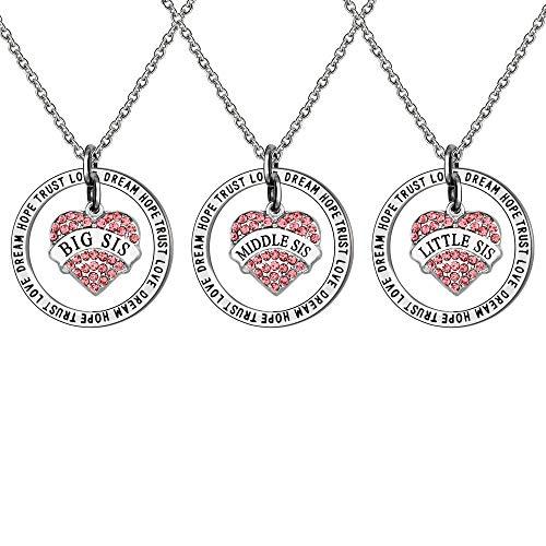 Juego de 3 collares de diamantes de imitación de color rosa para hermana o mejor amiga.