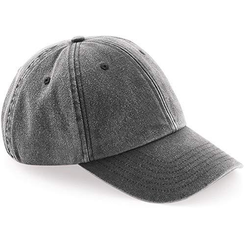 Beechfield - Gorra estilo vintage denim de perfil bajo unisex adulto (Talla Única/Negro vintage)