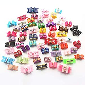 armiDogBow 10 Pcs Handmade Dog Bow Grooming Hair Bows for Puppy Small Dogs Accessories Products Mix Color
