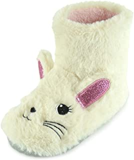 DINZIO Home Winter Kids Bunny Plush Bootie Warm Winter Non-Slip Shoes Boots Warm Fluffy for Kids Baby Girls Boys Indoor/Ou...