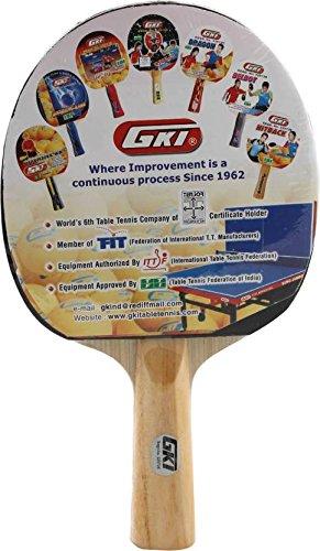 GKI Wooden Kung Fu Table Tennis Paddle (Red, Black)