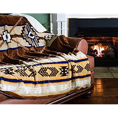 Cozy Fleece Oversized Southwestern Throw with Reverse Sherpa, 60 x 80, Neutral