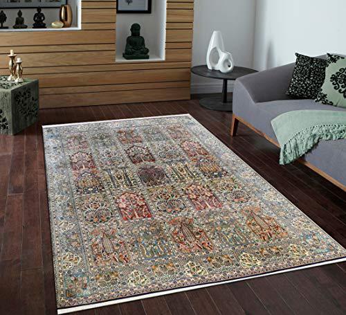 TrendyLiving4U tapijt woonkamer laagpolig Kashmir zijde Hamadan handwerk 170x243CM blauw