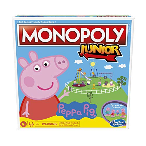 Monopoly Junior: Peppa Pig Edition Board Game for 24 Players Indoor Game for Kids Ages 5 and Up Amazon Exclusive