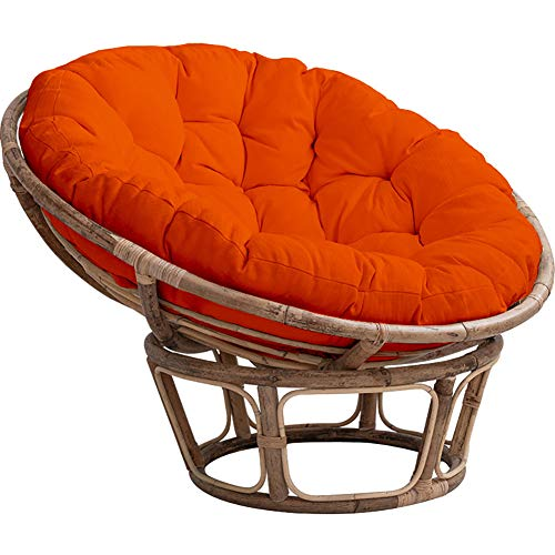 PeiQiH Overstuffed Round Papasan Cushion,Water-Resistant Papasan Chair Cushion with Ties,Cotton Craft Fits Standard 45in Chair Orange Diameter:130cm(51inch) Thickness:15cm(6inch)
