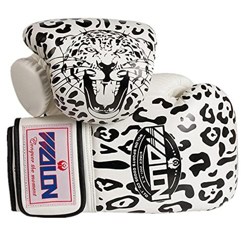 zeenca Boxhandschuhe,Muay Thai, Männer und Frauen, Anzug für MMA Boxing Sparring TrainingBoxen Leopard Erwachsene Handschuhe EIN Paar-Wulong Leopard White._10 Unzen