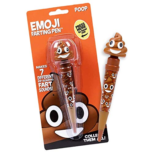 Farting Poop Emoji Pen - Makes 7 Funny Fart Sounds - Cute Smiling Poop Face Emoticon Ballpoint Pens - Talking Joke Toy for Teen Boys & Girls - Fun Silly Cool Easter Surprise Gifts for Kids & Adults