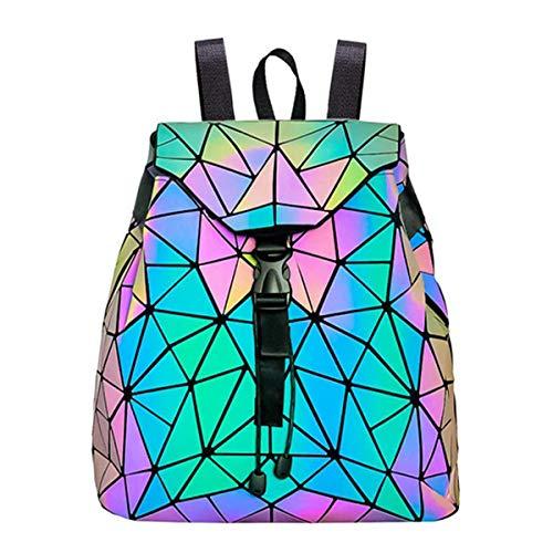 Mochila Mochila geométrica Lingge Mujer Luminoso Flash Hombre Bolsa de Viaje Mochila Escolar, Hológrafo para Mujer Moda para Mujer Mochila Monedero(Colorful-1)