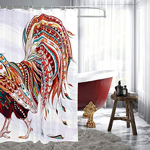 Hahn Bauernhaus Huhn bunter Duschvorhang Wasserdicht Schimmelresistent Badezimmer Duschvorhang Polyester waschbar Badvorhang-Set mit 12 Haken, 183 x 183 cm