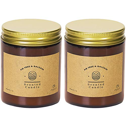 Chloefu LAN Fir Tree & Balsam Scented Candles Sets Gift for Women Cedarwood Pepper Patchouli Soy Wax Candle 200g|45 Hour Long Lasting Relaxing Glass Jar Home Decor for Men & Women 2 Pack