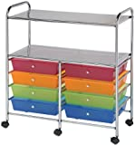 Alvin, SC8MCDW-12-S, Wide Storage Organizer Cart with 2 Shelves - Multicolor, 8 Drawers