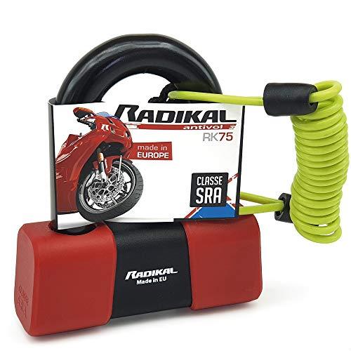 Radikal RK75 - Lucchetto antifurto per moto con mini disco ad U, Ø18, omologato SRA