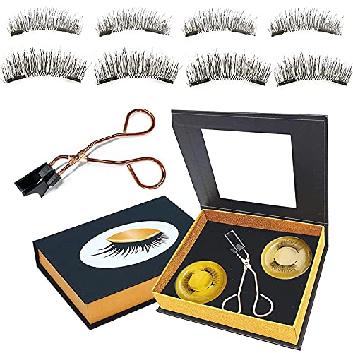 Magnetic lashes NO Eyeliner or Glue Needed New Update Reusable Thin Magnet,Light Weight False Magnetic Eyelashes Without Eyeliner Two Different Lengths Natural-Looking (2-PAIRS)
