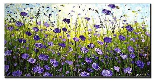 Dipinti ad olio 3D, fiori viola Erba paesaggio Arte astratta della parete, 100% opere d'arte dipinte a mano su tela, per soggiorno Camera da letto home decor (senza cornice) 40x80 cm (16x32 pollici)