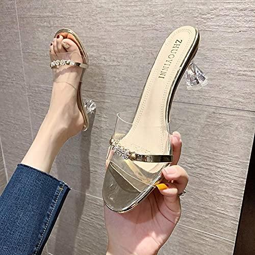 MLLM Vrouwen open hoge hakken sandalen, Transparant kristal met slippers, dames woord sandals-Golden_38, Non-Slip Douche Schoenen voor Vrouwen