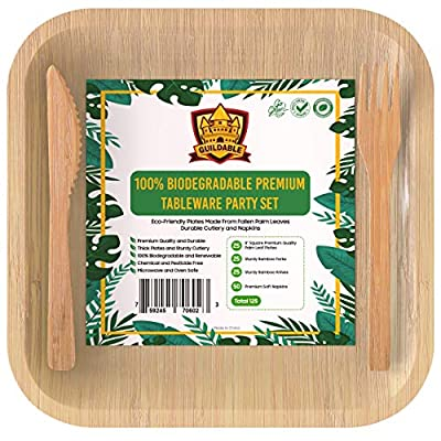 """Palm Leaf Disposable Plates & Bamboo Cutlery Set With Napkins 