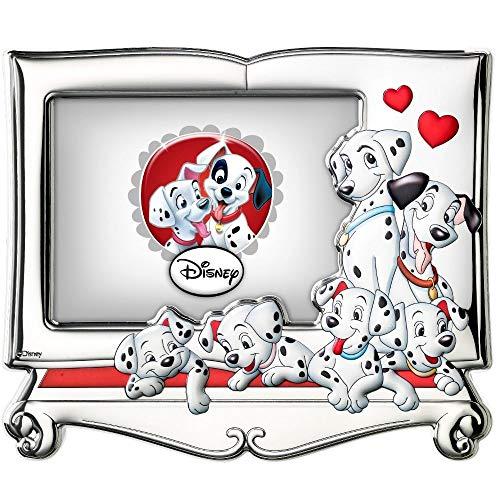 Disney Baby - Cadre photo Les 101 Dalmatiens à poser - en argent - collection premium - pour chambre d'enfant/de bébé - motif des Dalmatiens 3D/coloré