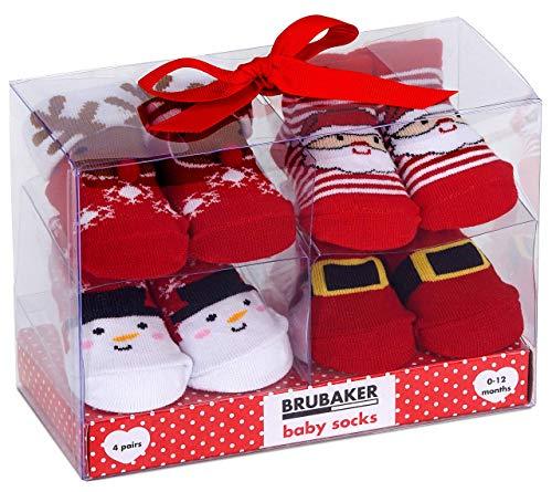 BRUBAKER 4 Pares de Calcetines de Bebé Niñas Niños 0-12 Meses - Navidad - en Caja Regalo