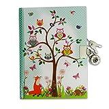 Lucy Locket Waldtiere Tagebuch mit Schloss für Kinder Kindertagebuch mit Eulen- und Fuchs-Design