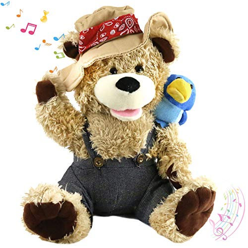 Houwsbaby Singing Teddy Bear Cowboy Stuffed Animal Gift for Kids Boys Girls Electronic Interactive Toy with Plush Pal Friend Blue Bird on His Shoulder Mother's Day Birthday, 12''