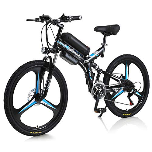 Hyuhome Folding Electric Bike for Adult 350W 36V Electric Folding Mountain Bike,High carbon steel Alloy Ebikes Bicycles All Terrain,26' Electric Bicycle Commuting E-Bike,Folding bicycle(blue)