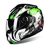 BUETR Off-road moto exterior bicicleta eléctrica casco montar bicicleta deportiva casco protector-alien verde (película blanca) _L