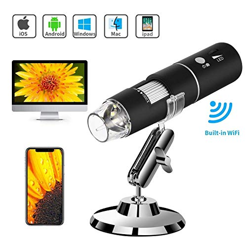 Wireless Digital Microscope, Amabana WiFi Microscope 1000X with 1080P 2MP Camera, Handheld Microscope with 8 Led Lights for iPhone Android iPad Mac Window