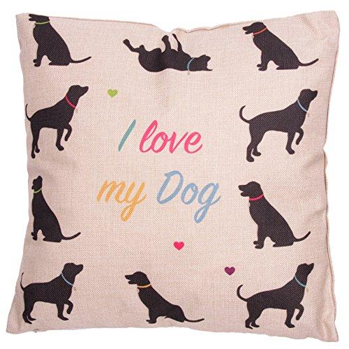 Puckator Housse et Coussin 43x43 cm CUSH72-design I Love My Dog, Noir/Gris Clair
