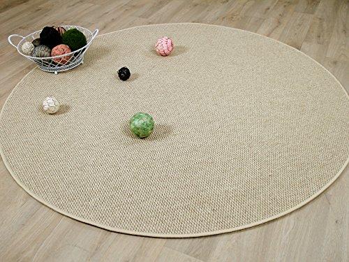 Bentzon Natur Teppich Wolle Flachgewebe Beige Rund in 7 Größen