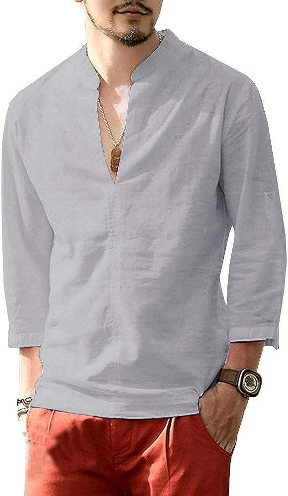 Karlywindow Mens Summer Casual Linen Under blast Brand new sales S Long Shirts Sleeve Henley