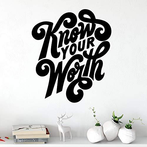 wZUN La Creatividad Conoce tu Valor Pegatinas de Pared Pegatinas Decorativas Decoración del hogar para niños Decoración de la habitación 33x38cm