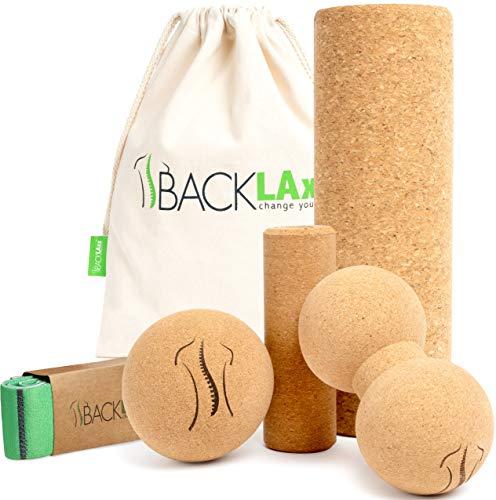 BACKLAxx Juego de rollo de fascia de corcho – pelota de corcho grande y pequeño, doble bola para fascias, espalda y columna vertebral, incluye vídeos de aplicación