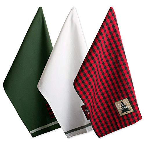 DII Cotton Christmas Holiday Dish Towels, 18x28' Set of 3, Decorative Oversized Kitchen Towels, Perfect Home and Kitchen Gift-Christmas Fireside