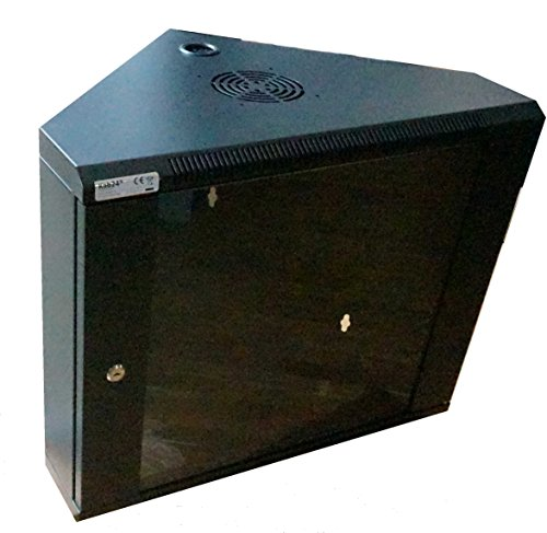 kab24® Eckschrank Netzwerkschrank Serverschrank Wandhehäuse Netzwerk Wandschrank Wandverteiler SOHO Schrank schwarz 19 Zoll 9 HE H:43 x B:60 x T:43cm