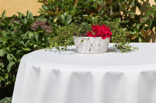 ODERTEX Tischdecken für Küche und Wohnstube mit ACRYL und BLEIBAND abwaschbar, Form und Größe sowie Farbe wählbar, Maße: 150x300 cm Oval crem-weiß Oslo