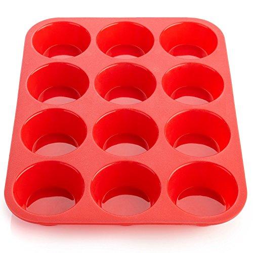 HelpCuisine Moldes de Moldes para Muffin/Bandeja para Cupcakes de Color Azul con 12 cavidades, 24 Meses de garantía ! (12 moldes (Rojo))
