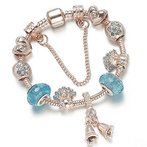 JustJ Bracelet Luxury DIY Beads Rose Gold Crystal Bangle BrWomen Charm Jewelry Gift 07 19cm