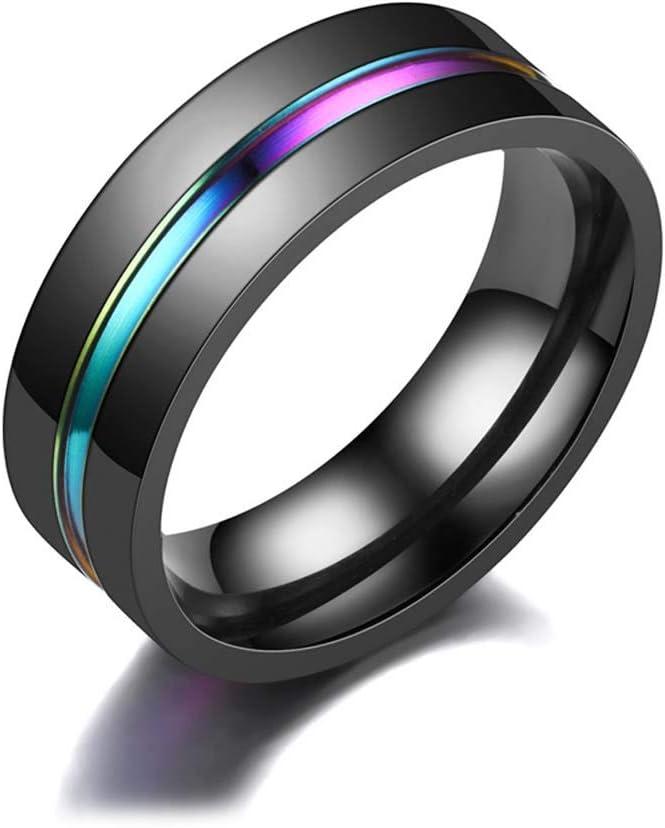 MNTT Rainbow Mens Ring Wedding Band for Men Women Fashion Simple Titanium Male Jewelry Black(10mm)