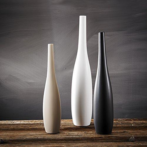 3-teilig Set Porzellan Vasen, Purelifestyle, Blumenvase in 3 Farben, Raumdeko, Höhe 59 / 51 / 45,5 cm, Weihnachtsgeschenk