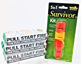 Pull Start Fire Pull String Firestarter (3 Pack) and Wilcor 5 in 1 Survivor Kit