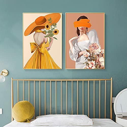 Gymqian Carteles e Impresiones de Mujeres abstractas Coloridas imágenes de Chicas Arte de Pared Flores Lienzo Pintura para Sala de Estar decoración del hogar 50x70cmx2 sin Marco