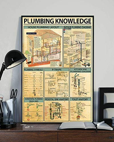 SIGNCHAT Plumbing Knowledge Poster Wall Decor Poster Vintage Style Metal Wall Plaque Wall Decoration Metal Sign 8x12 inch